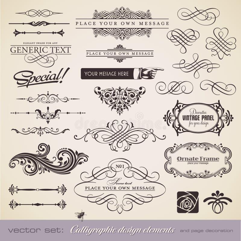 La calligrafia ha impostato 5 illustrazione vettoriale