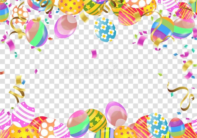 La calligraphie avec le résumé monte en ballon Bunny Ears, conception heureuse d'affiche de célébration de vacances de fond de Pâ illustration stock