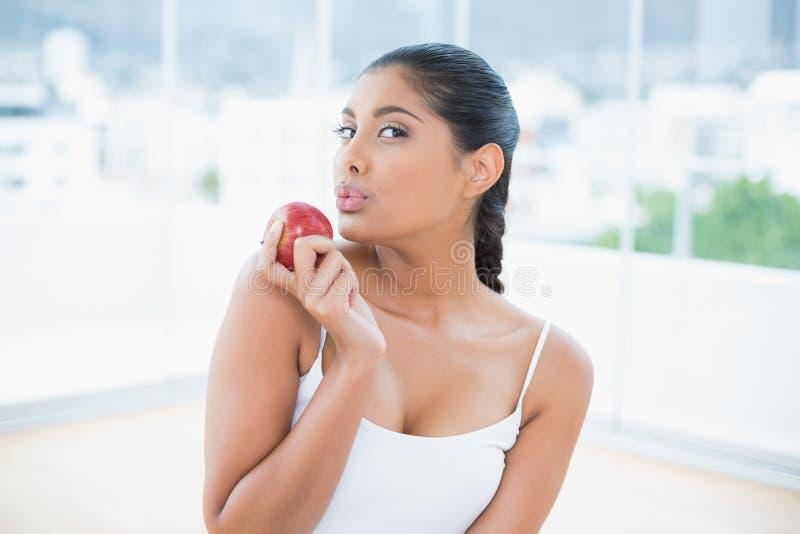 La calma ha tonificato la mela castana della tenuta immagini stock libere da diritti