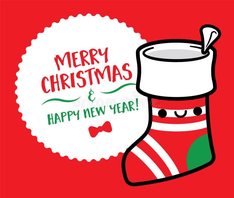 La calza sveglia di Natale del fumetto con il Buon Natale firma - il vettore illustrazione di stock