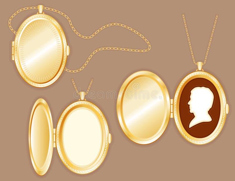 la camée de l'homme de +EPS dans le Locket ovale, réseau d'or illustration de vecteur