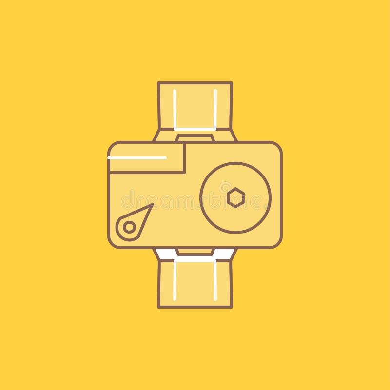 la caméra, action, numérique, visuelle, ligne plate de photo a rempli icône Beau bouton de logo au-dessus de fond jaune pour UI e illustration stock