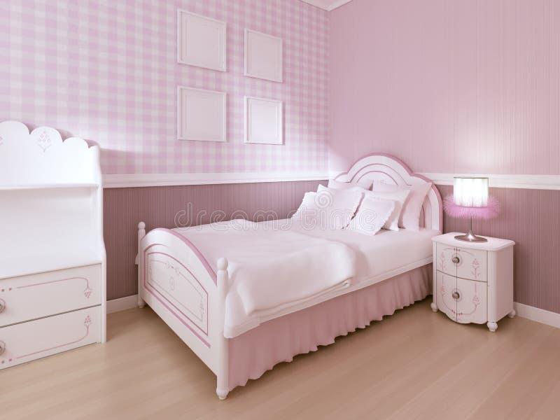 La cama blanca de los niños en un interior clásico para un adolescente en colores en colores pastel ilustración del vector