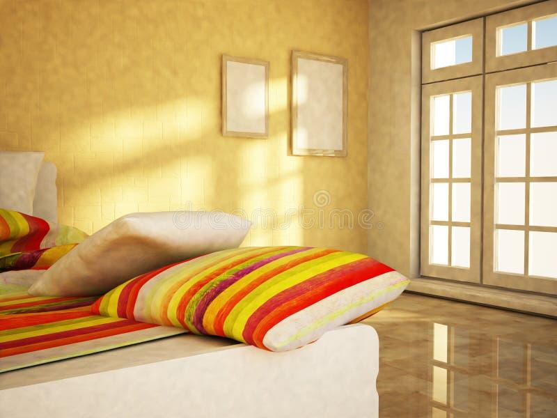 La cama está en un cuarto con libre illustration
