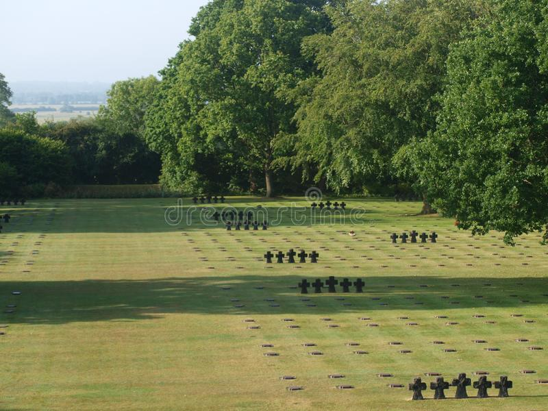 la cambe德国公墓广角概要在诺曼底法国 库存图片
