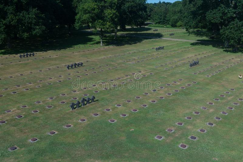 Overview of La Cambe German war cemetery, Normandy, France. La Cambe is a military war grave cemetery close to Bayeux, Normandy, France. Approx. 21,000 German stock photos