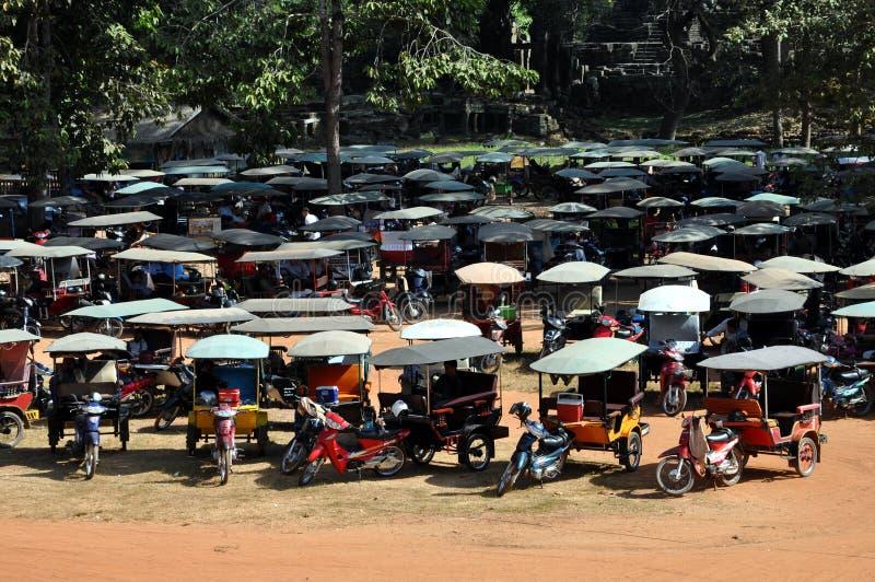 La Cambogia - parcheggio dei risciò fotografia stock