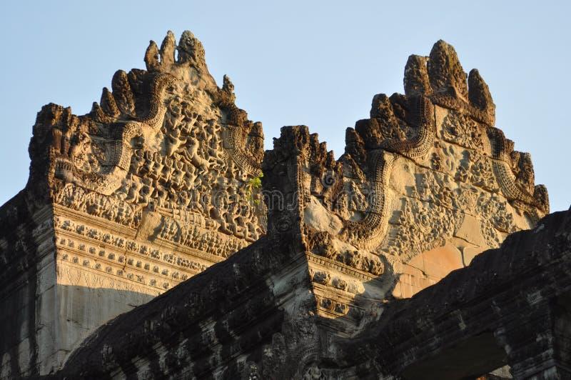 La Cambogia - vista del primo piano del tempio di Angkor Wat fotografia stock libera da diritti