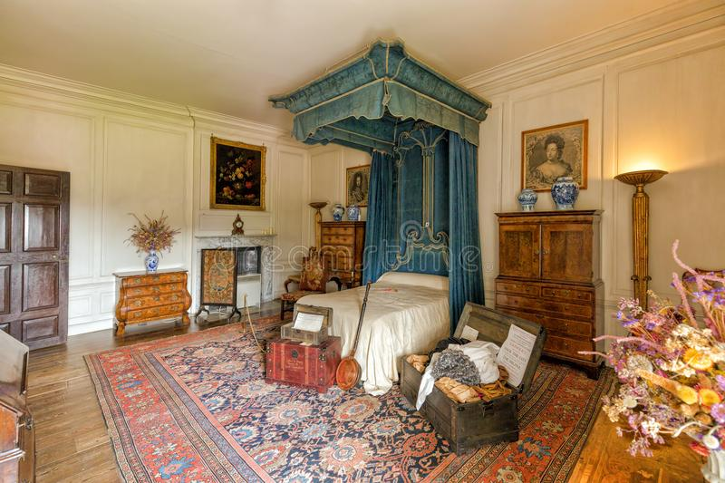 La camera da letto blu a Hanbury Corridoio, Worcestershire fotografia stock libera da diritti