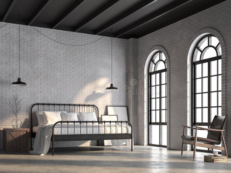La camera da letto del sottotetto con il muro di mattoni bianco 3d rende illustrazione di stock