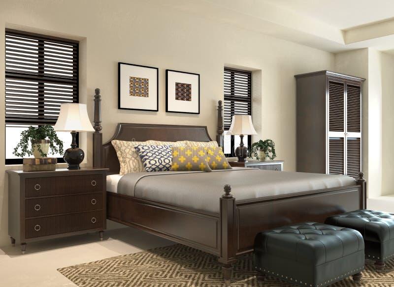 La camera da letto rende illustrazione vettoriale