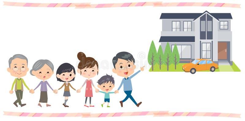 La Camera di camminata delle generazioni della famiglia tre della tenuta della mano visita illustrazione vettoriale