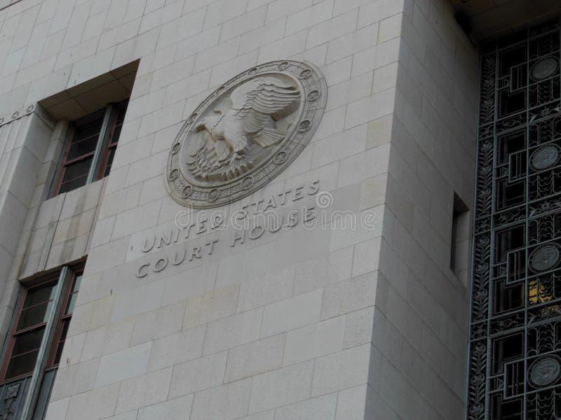La Camera di corte degli Stati Uniti a emblema di Los Angeles, California fotografia stock libera da diritti