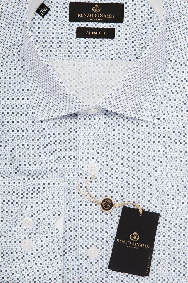 La camicia degli uomini nella macro vista superiore d'imballaggio del primo piano fotografie stock