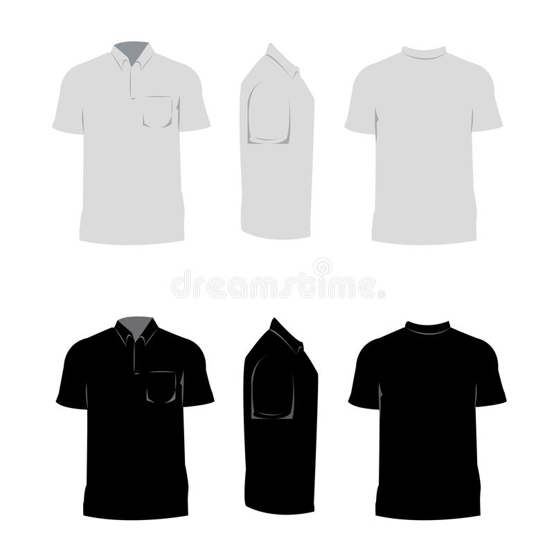 La camicia dell'uomo per il nero di progettazione ed il colore grigio con fondo bianco illustrazione di stock