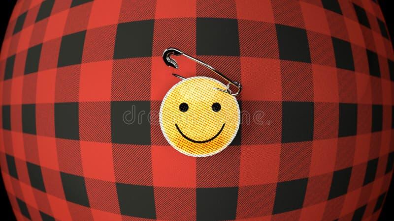 La camisa de la franela y el paño del smiley badge, se cierran para arriba ilustración del vector