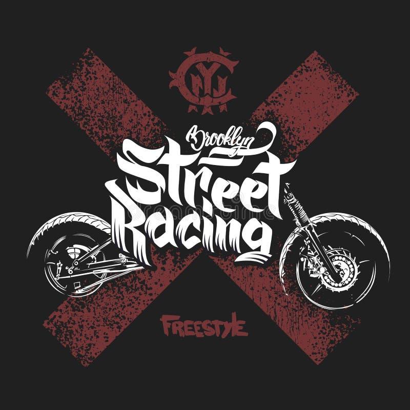 La camiseta de la motocicleta imprime el ejemplo del vector libre illustration