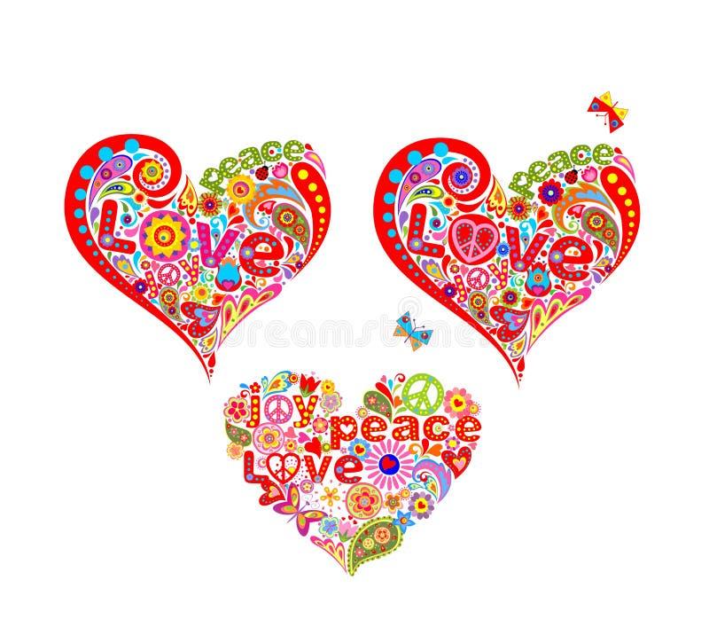 La camiseta imprime con formas decorativas divertidas del corazón del hippie stock de ilustración