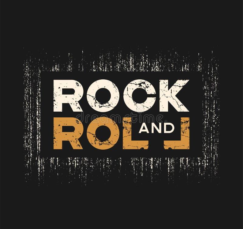 La camiseta y la ropa del rock-and-roll diseñan con efecto del grunge y ilustración del vector