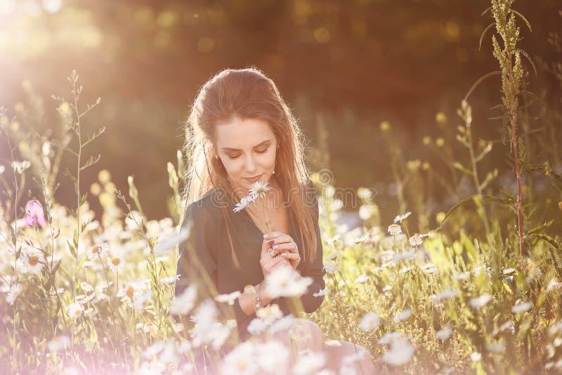 La camomilla di fiuto della ragazza fiorisce in un giacimento di fiore immagine stock