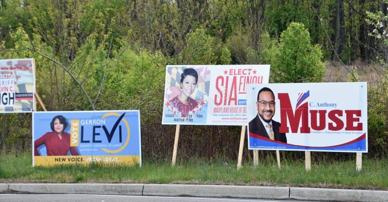 La campaña electoral de elecciones primarias firma Maryland fotografía de archivo libre de regalías