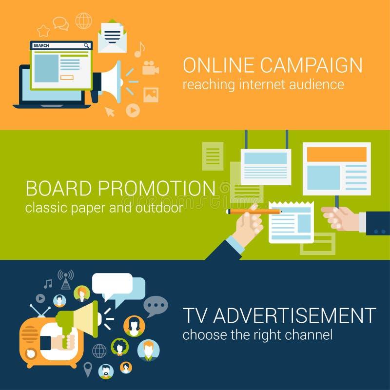 La campaña publicitaria infographic del estilo plano mecanografía concepto stock de ilustración