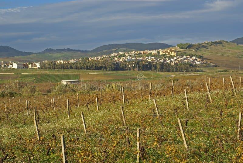 La campagna intorno alle colline, Sicilia fotografie stock libere da diritti