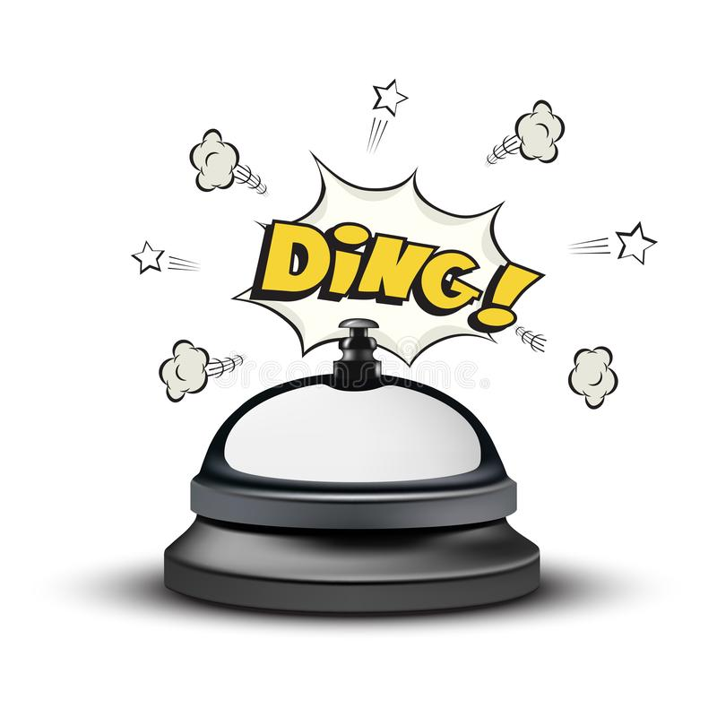 La campana realista y el tilín de la recepción firman adentro estilo del cómic en el fondo blanco Ilustración del vector ilustración del vector