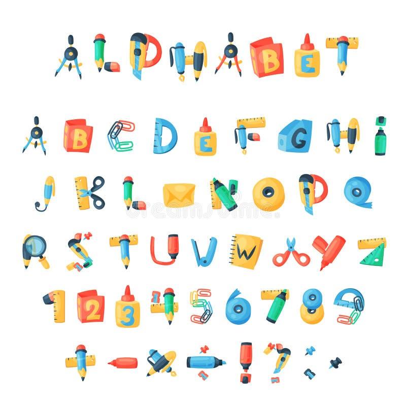 La cancelleria dell'alfabeto segna le icone con lettere alfabetiche della fonte di ABC di vettore degli accessori degli strumenti illustrazione vettoriale