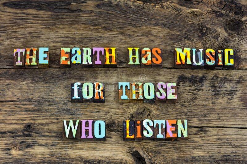 La canción de la música de la tierra escuchar disfruta de tipografía fotografía de archivo