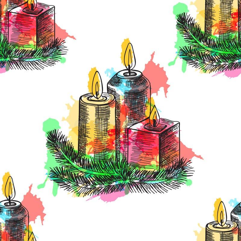 La candela bruciante di schizzo disegnato a mano in candeliere di natale di abete si ramifica Illustrazione di vettore royalty illustrazione gratis