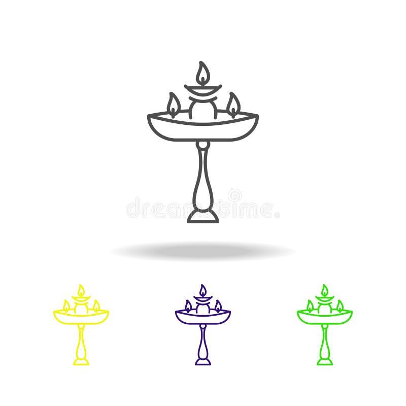 La candela Diwali sta le icone colorate su fondo bianco Elementi indiani di feste di festival indù di Diwali per il grafico ed il illustrazione di stock