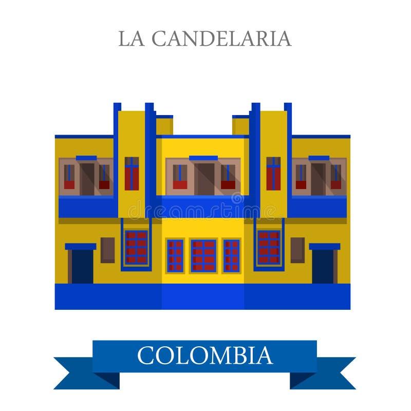 La Candelaria no marco liso da atração do vetor de Bogotá Colômbia ilustração do vetor
