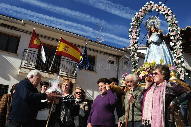 La CANDELARIA van het feest. Retiendas.SPAIN stock foto's