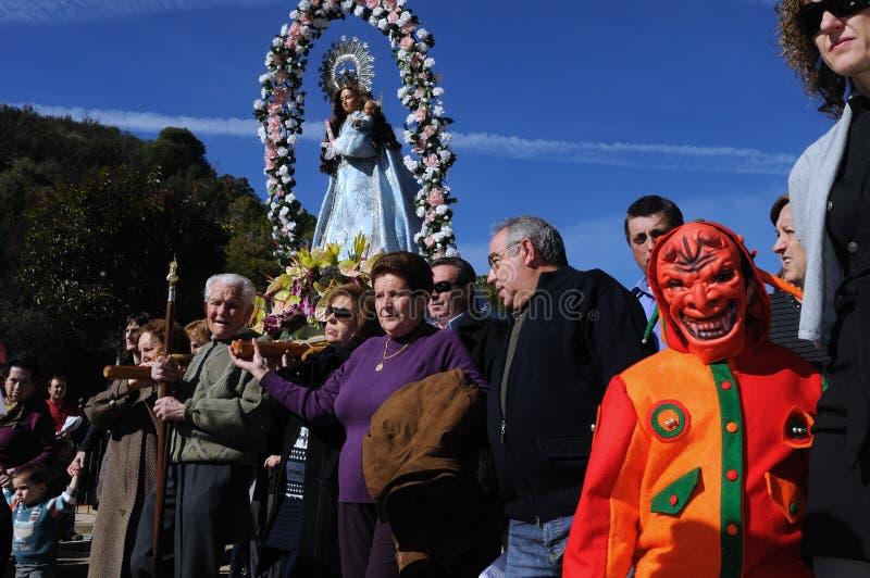 La CANDELARIA van het feest. Retiendas.SPAIN stock afbeelding