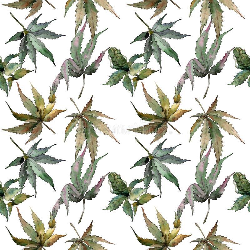 La cannabis lascia il modello in uno stile dell'acquerello illustrazione di stock