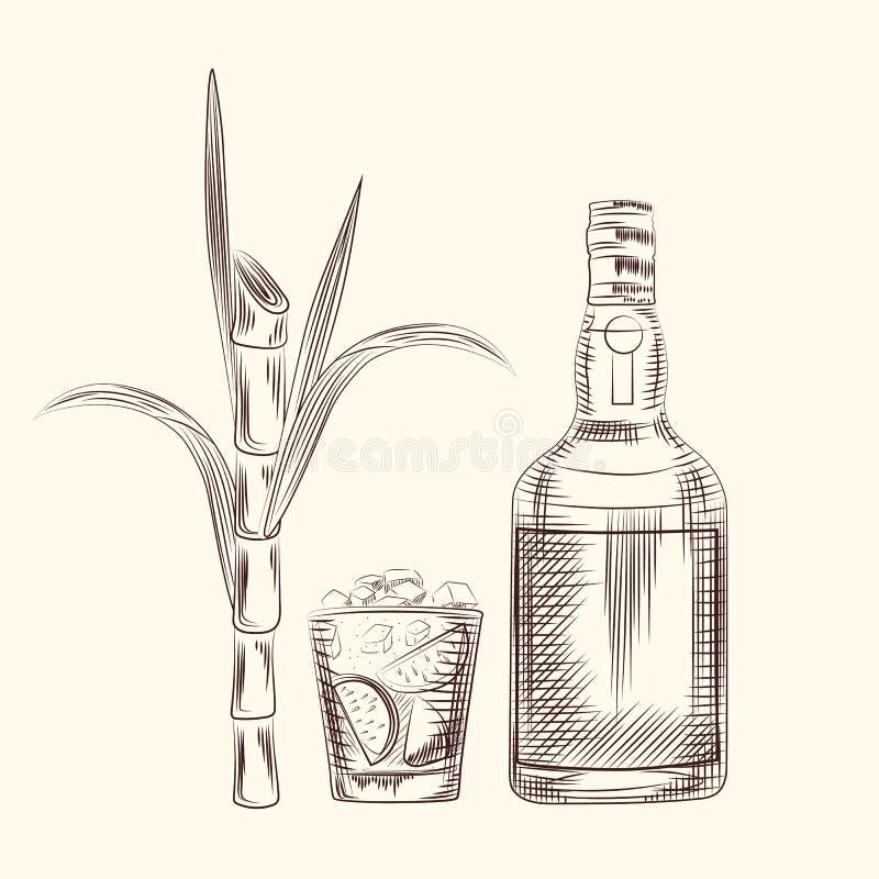 La canne d'aspiration de main part du fond Boisson d'alcool, tiges de sucrerie illustration libre de droits