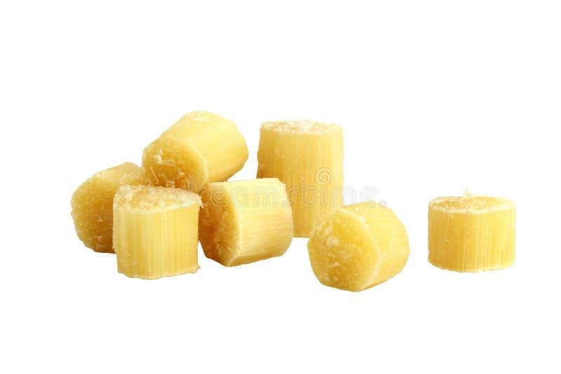 La canne, morceau de canne à sucre, canne à sucre a coupé le morceau, fond blanc d'isolement par canne à sucre, canne à sucre fra images libres de droits