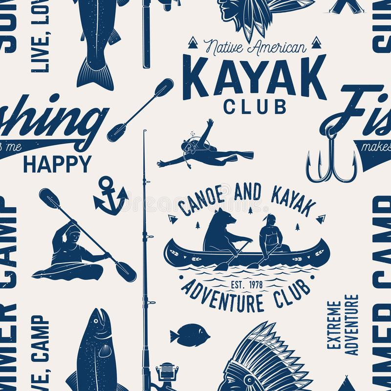 La canoa, el kajak y la pesca aporrean el modelo inconsútil stock de ilustración