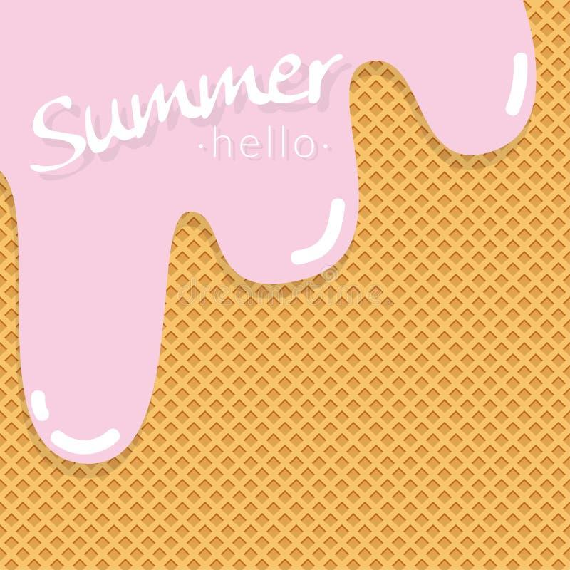 La capa dulce de la textura del helado del sabor de la crema de la fresa derritió libre illustration