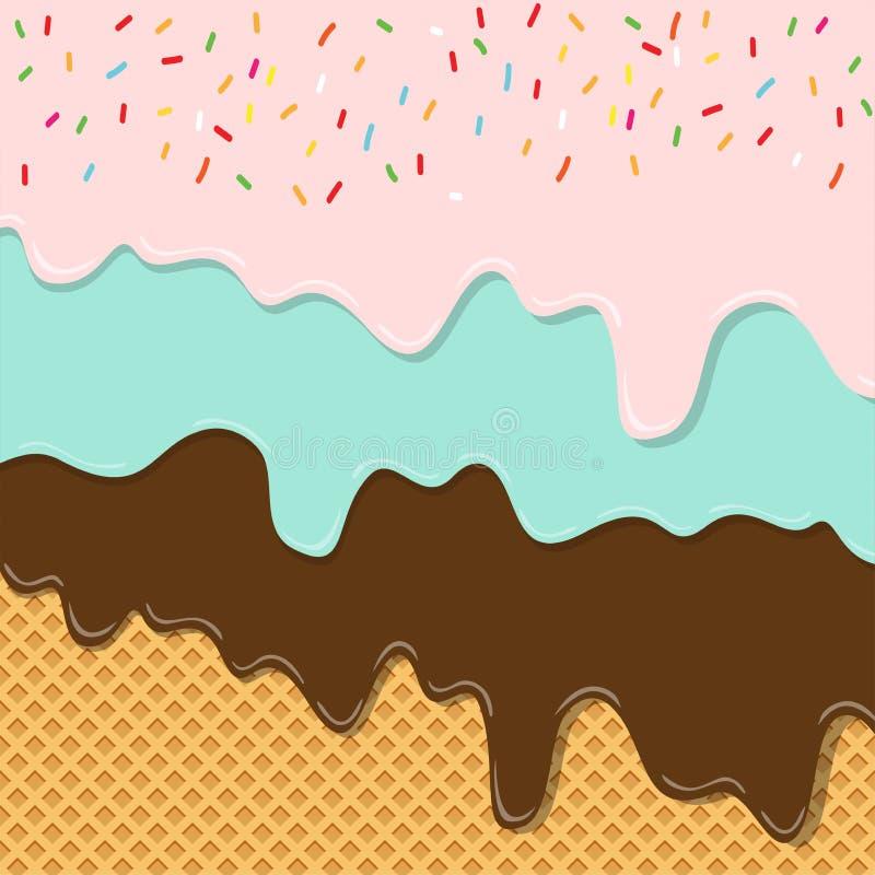 La capa dulce de la textura del helado del sabor derritió en fondo de la oblea libre illustration