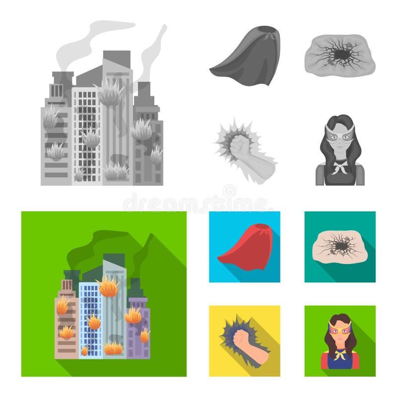 La capa, el rojo, la ropa, y el otro icono del web en estilo plano Estupendo, fuerza, muchacha, iconos en la colección del sistem stock de ilustración