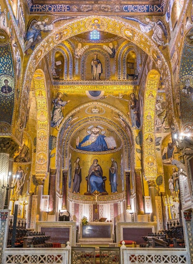 La capilla de Palatine del dei Normanni de Norman Palace Palazzo en Palermo Sicilia, Italia fotografía de archivo