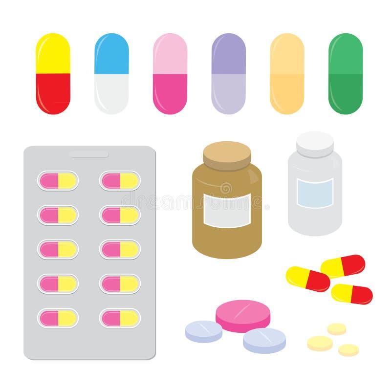 La capsula della dose della pillola del pannello della medicina della droga guarisce il vettore del fumetto del trattamento illustrazione di stock