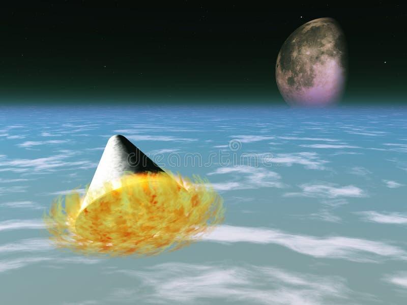 La capsule d'espace ressaisit l'atmosphère illustration stock