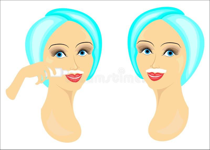 La cara de dos muchachas Las señoras hacen la depilación facial en sus la propio Quite el pelo sobre el labio superior con un gel stock de ilustración