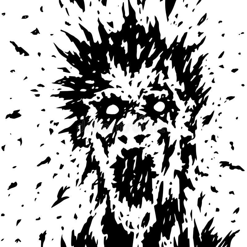 La cara de griterío de un fantasma con las salpicaduras del pelo que resaltan y de la sangre stock de ilustración