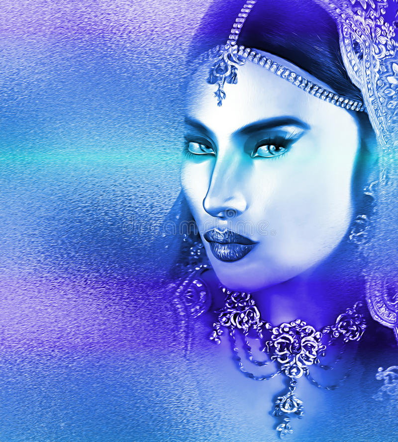 La cara de la mujer asiática, cierre para arriba con un efecto abstracto azul hermoso imágenes de archivo libres de regalías