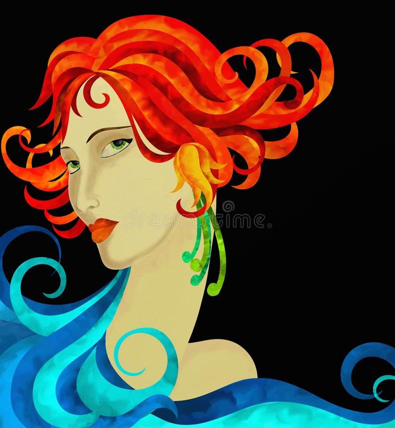 La cara de la mujer con el pelo rojo stock de ilustración