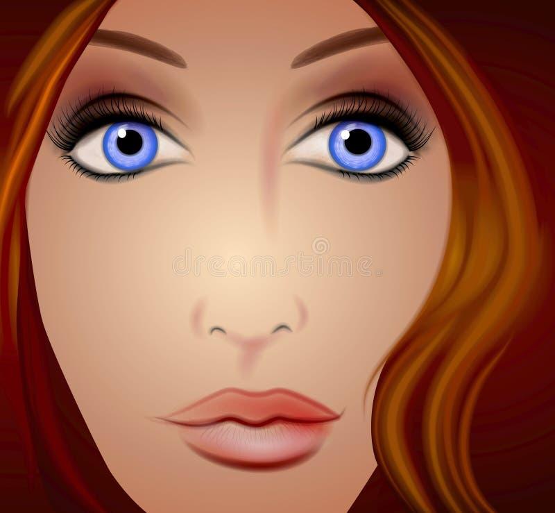 La cara de la mujer para arriba cierra a Brown libre illustration